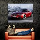 BMW Red Sport Car Mountains Huge 47x35 Print Poster