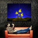Glowing Mushrooms Cool Art Huge 47x35 Print Poster