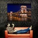 Budapest Bridge Night City Huge 47x35 Print Poster