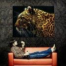Fractal Art Wild Cat Leopard Huge 47x35 Print Poster