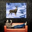 Deer Nature Winter Snow Painting Art Huge 47x35 Print Poster