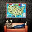 BIG COOL USA Kids Educational Map Huge 47x35 Print Poster