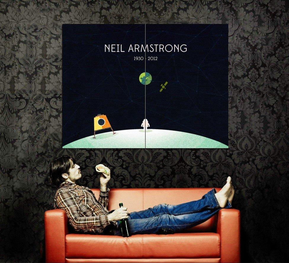 Neil Armstrong 1930 2012 Moon Minimal Art Huge 47x35 Print Poster