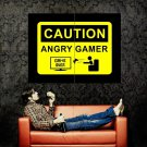 Caution Angry Gamer Art Huge 47x35 Print Poster