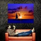 Sail Ship Sunset Sea Nature Huge 47x35 Print Poster