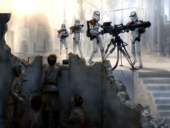 Star Wars Tatooine Stormtroopers Art 32x24 Print POSTER