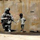 Soldier Kid Flower Weapon Banksy Graffiti Street Art 32x24 Print POSTER