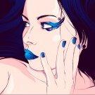 Pretty Girl Blue Lipstick Nails Vector Art 32x24 Print POSTER