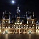 Hotel De Ville Night Paris France 32x24 Print POSTER