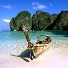 Phi Phi Island Thailand Boat Beach Nature Landscape 32x24 Print POSTER