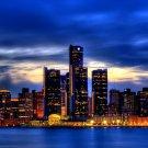 Detroit Skyline Night City Lights 32x24 Print POSTER