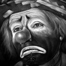Sad Clown Pencil Drawing Art 32x24 Print POSTER