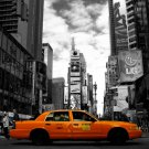 Yellow Cab Taxi Times Square Night Lights New York City BW 32x24 POSTER