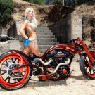 Busty Babe Chopper Cruiser Custom 32x24 Print POSTER