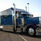 Peterbilt Shiny Blue Truck Trailer 32x24 Print POSTER
