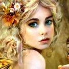 Blonde Beauty Green Eyes Portrait Art 32x24 Print POSTER