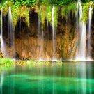 Beautiful Waterfall Emerald Lake Nature 32x24 Print POSTER