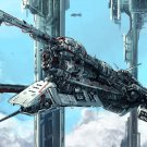 Battle Starship Spaceship Painting Art 32x24 Print Poster