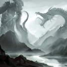 Giant Dragon Fight Fantasy Painting Art 32x24 Print Poster