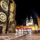 Prague Czech Night City Lights 32x24 Print Poster