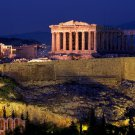 Acropolis Of Athens Night Lights 32x24 Print Poster