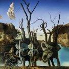 Salvador Dali Swans Reflecting Elephants Art 32x24 Print Poster
