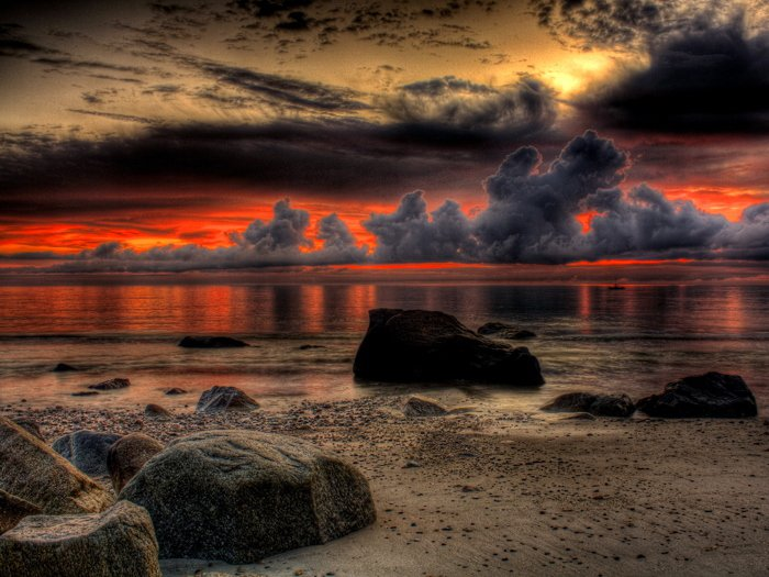 Beautiful Sunset Landscape Sea 32x24 Print Poster