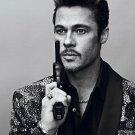 Brad Pitt Hot Actor Pistol BW 32x24 Print Poster