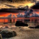 Sunset Stones Clouds Sea Nature Landscape 16x12 Print POSTER