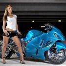 Suzuki GSX 1300R Hot Girl Sport Bike 16x12 Print POSTER