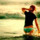 Hot Babe Wet Panties Surfing 16x12 Print POSTER