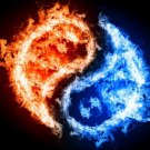 Yin And Yang Flame Fire Rendering 16x12 Print POSTER