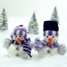 Small Snowmen Christmas Trees 16x12 Print POSTER