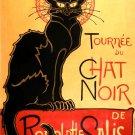 Chat Noir Black Cat Vintage Retro Painting 16x12 Print Poster