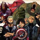 One Piece Characters Avengers Anime Art 16x12 Print Poster