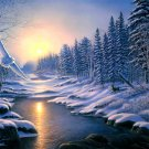 Winter Sunset Nature Owl Painting Art 16x12 Print Poster