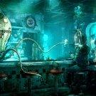 Underwater Bar Octopus Steampunk 16x12 Print Poster