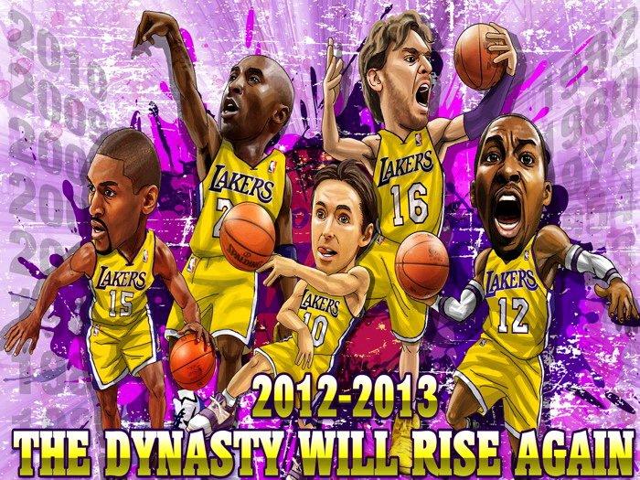Los Angeles Lakers Howard Nash 2012 NBA 16x12 Print Poster