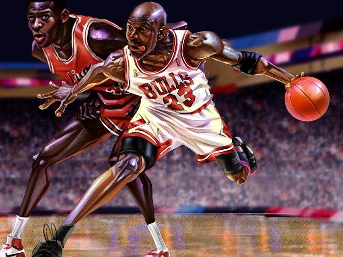 Michael Jordan Caricature Art NBA 16x12 Print Poster