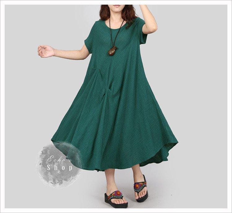 Women Summer Long Dress Linen Cotton Dress Plus Size Dress