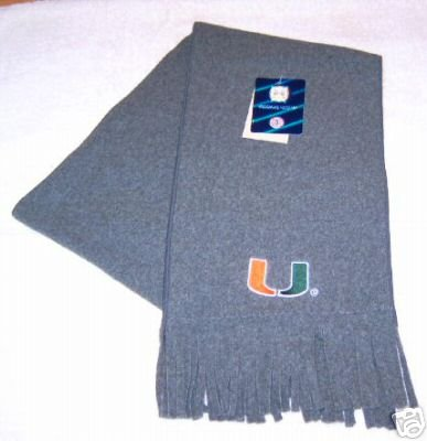 Miami Hurricanes Fringed Grey Arctic Fleece Scarf NWT