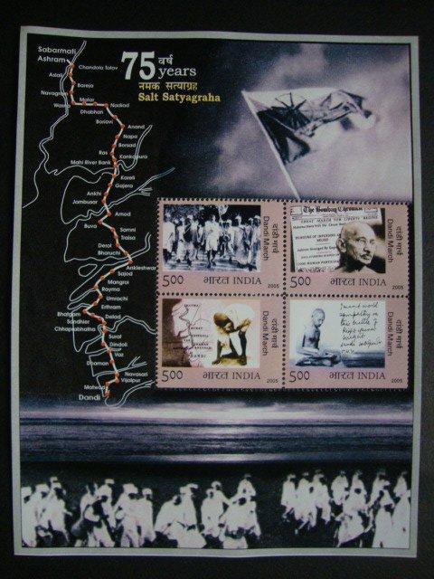 Mahatma Gandhi-75 Years of Salt Satyagraha-Dandi March Minisheet-India 2005 MNH
