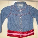 Girl's Cherokee Blue Denim Jean Jacket Size 4 Toddler 4T Red Lace Trim