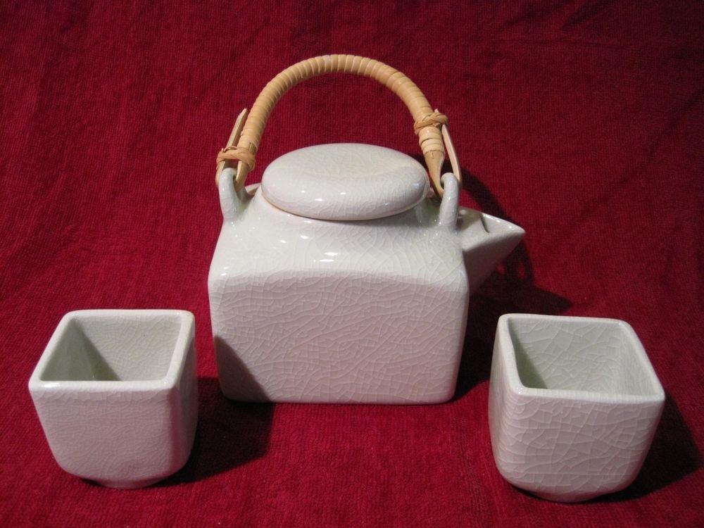 Tea Set Green Celadon Crackle Ceramic Square Thai Silk Gift Box Teapot Cup 3 Pcs