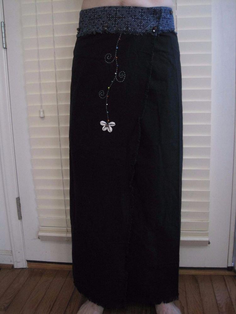 Thai Cotton Wrap Skirt Black/Navy Blue Cowrie Shell Art 100% Cotton USA Seller