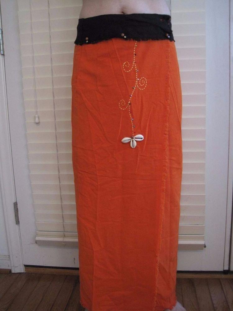 Thai Cotton Wrap Skirt Orange/Black Cowrie Shell Art 100% Cotton USA Seller