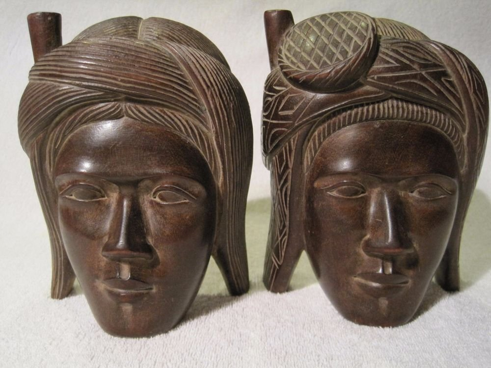 Vintage Native Aboriginal Indian Head Bust Carved Wood Bookends Asian Tribal