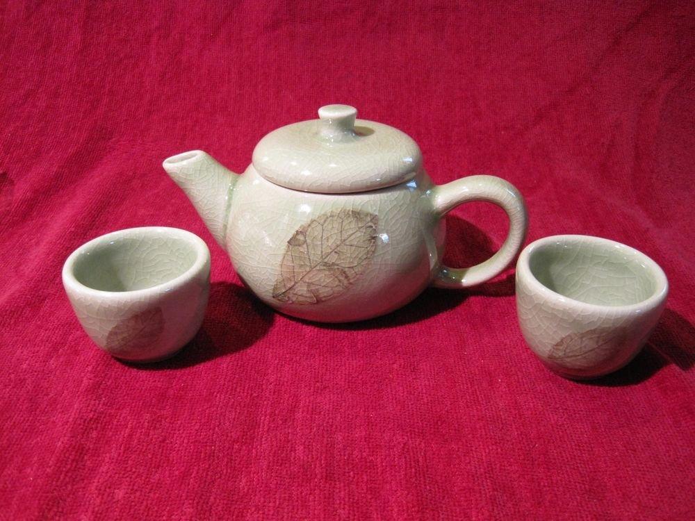 Tea Set Green Celadon Crackle Ceramic Thai Silk Gift Box Teapot Cup 3 Pcs