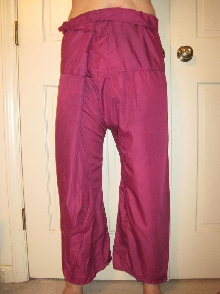 Thai Fisherman Pants Long Yoga Wrap Unisex Pirate Exercise Dark Magenta Men