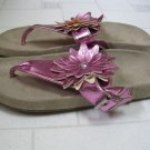 Gap Flower Girl Thong Flip Flops Womens Relaxed Fit Sandal Size 5 Ruffle Pink